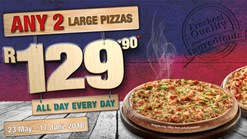 Find Take Aways || Roman's Pizza - Any 2 Large Pizzas Deal