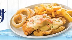 Find Takeaways || John Dory's Cheesy Prawn Schnitzel