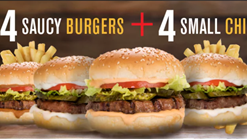 Find Takeaways || Burger Perfect - 4 Saucy Burgers with 4 Small Chips Deal