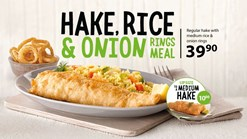 Find Takeaways || Fishaways Hake Rice and Onion Rings Meal Deal