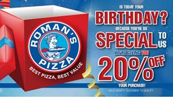 Find Take Aways || Roman's Pizza - 20% off on YOUR Birthday